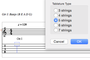 Setting up a banjo tablature
