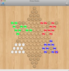 Playing Chinese Checkers with four players