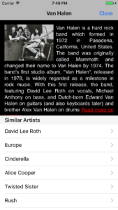 Artist information in Soundwaves