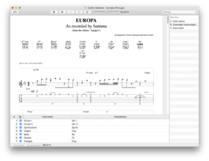 TabView displaying a Guitar Pro file